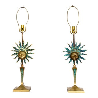 Pair of Mid Century Modern Pepe Mendoza Sculptural Sun Table Lamps Brass Malachite For Sale
