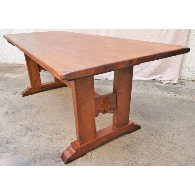 Brown Antique Plank Solid Oak Refectory Dining Table With Set of 6 Ladderback Chairs - 7 Pieces For Sale - Image 8 of 13