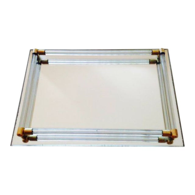 Vintage Lucite & Brass Mirrored Tray - Image 1 of 3