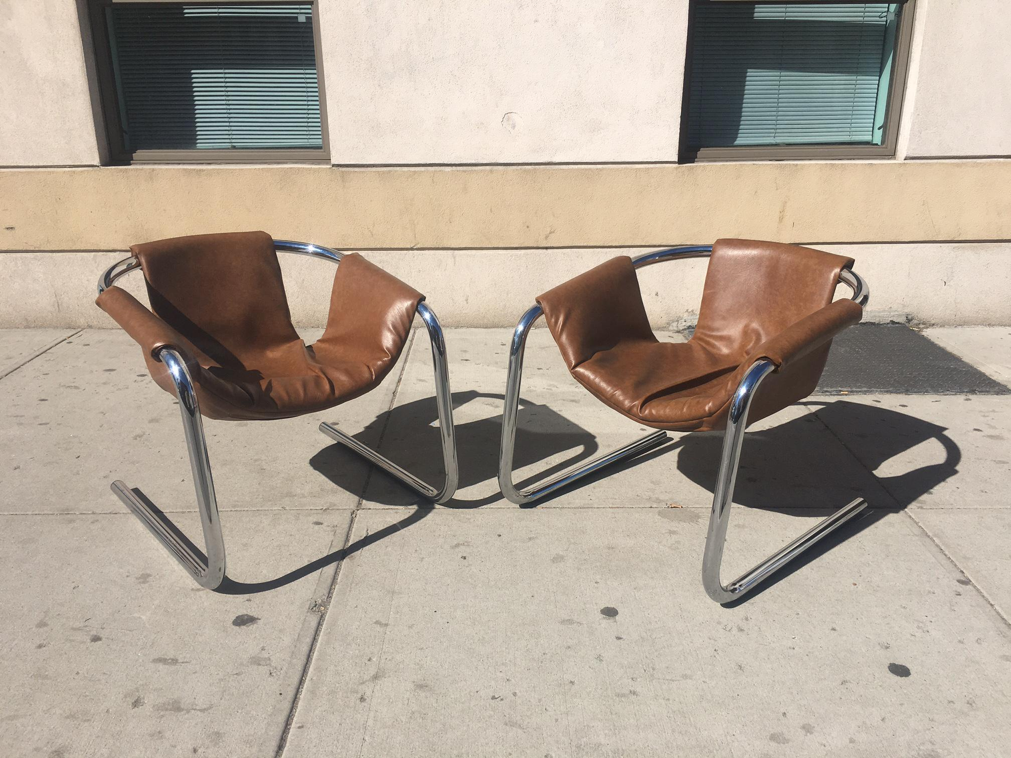 Chrome Mid Century Modern Zermatt Sling Lounge Chairs   A Pair   Image 8 Of