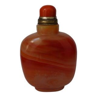 Vintage Orange Glass Snuff Bottle For Sale
