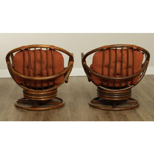 1960s Mid Century Pair Rattan Swivel Rocking Lounge Chairs For Sale - Image 5 of 13
