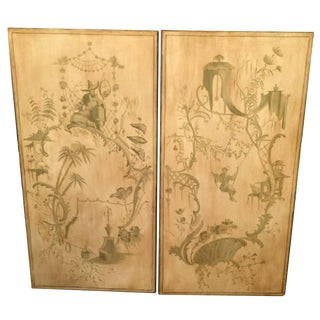 Pair of Hand-Painted Vintage Asian Panels For Sale
