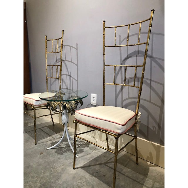 1970s Vintage Bagues Style Italian Gilt Iron High-Back Chairs- A Pair For Sale - Image 11 of 12