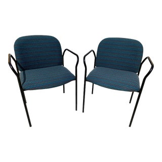 1980s Vintage Italian Teal Accent Armchairs - a Pair For Sale