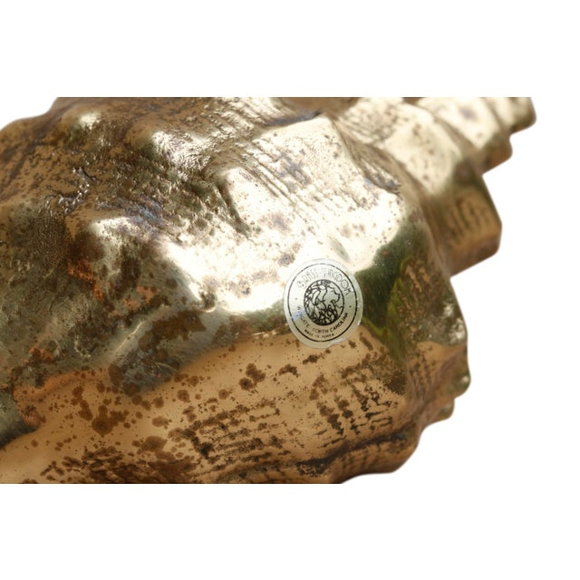Mid 20th Century Hollywood Regency Style Brass Conch Shell For Sale - Image 5 of 6