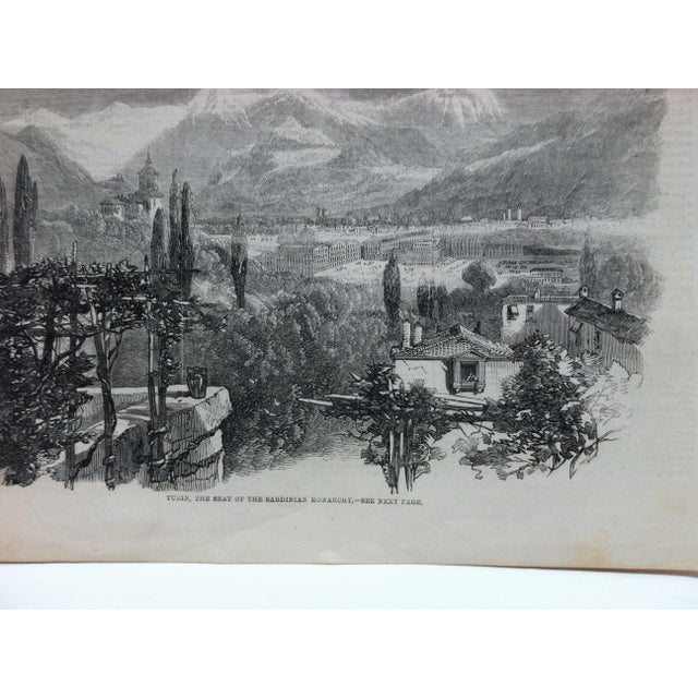 "1859 Antique Illustrated London News ""Turin - the Seat of the Sardinian Monarchy"" Print For Sale - Image 4 of 5"