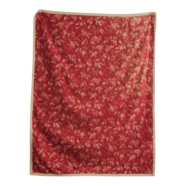 Antique French Pillement Inspired Red Resist Printed Textile Fabric With Ticking For Sale
