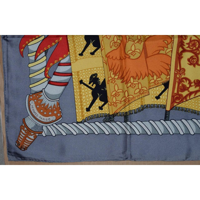 Traditional Hermes Flags & Banners Silk Scarf For Sale - Image 3 of 10