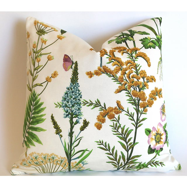 Shabby Chic Fern Floral Pillow Cover 18x18 For Sale - Image 3 of 3