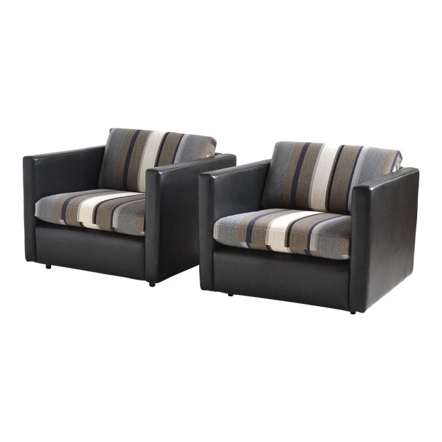 Pair of Pfister Lounge Chairs by Knoll in Leather and Fabric - Image 1 of 8