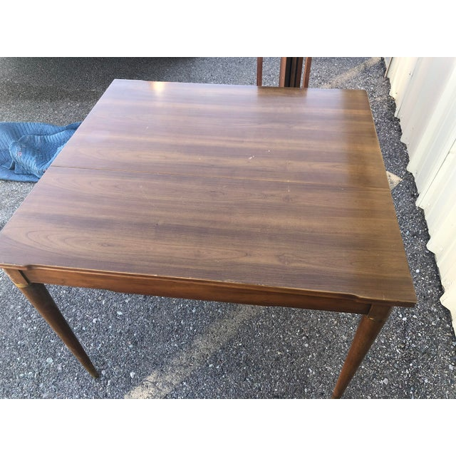 Wood Mid Century Modern Brown Saltman Dining Table For Sale - Image 7 of 10