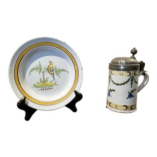 Circa 1741 Rouen French Faience Plate and Beer Stein Set For Sale
