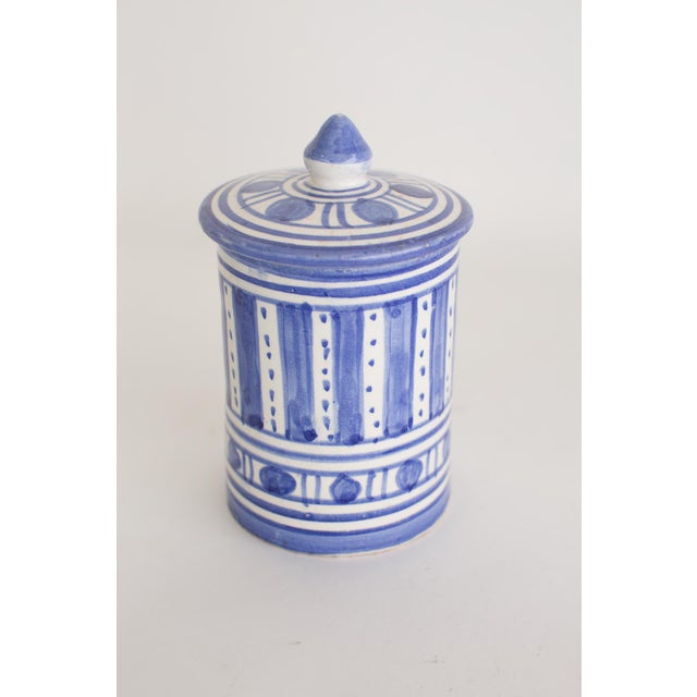 Hand Painted Moroccan Jar With Lid For Sale - Image 4 of 4