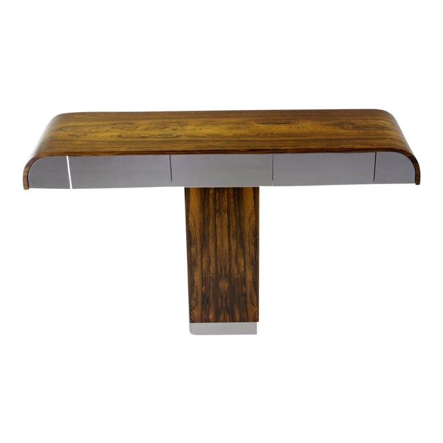 Rosewood & Chrome Pedestal Console - Image 1 of 11
