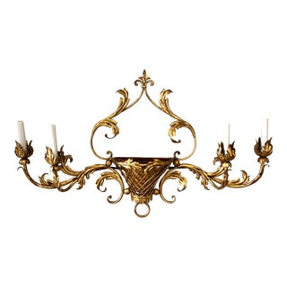Vintage Italian Gilt Tole Metal Four Light Wall Sconce For Sale