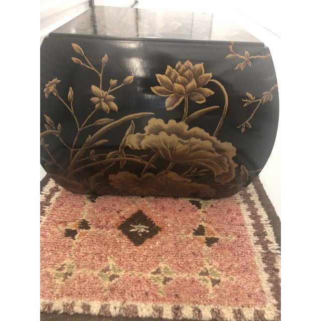 Unique 1980's black lacquer chinoiserie stool or side table by Drexel Heritage Furniture Company. The piece is signed and...