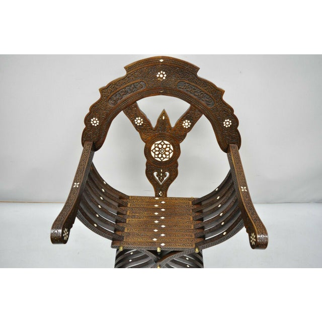 19th Century Mother of Pearl Inlay Syrian Savonarola Curule Throne Arm Chairs- A Pair For Sale - Image 10 of 12