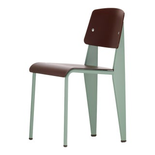 Jean Prouvé Standard Chair SP in Teak Brown and Mint for Vitra For Sale