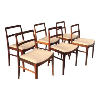 Danish Midcentury Rosewood Dining Room Chairs With Ivory Leather Seats - set of 6 For Sale