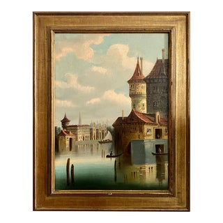 19th C. Venetian Canal Scene Oil on Canvas Painting, Framed For Sale