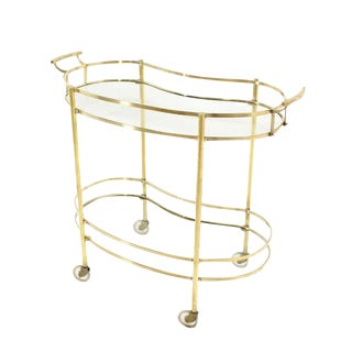 Solid Brass Kidney Shape Two-Tier Rolling Cart For Sale