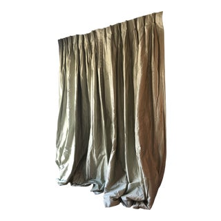 Pastel Green Silk Custom Made Drapes With Border on Lead Edge - a Pair For Sale