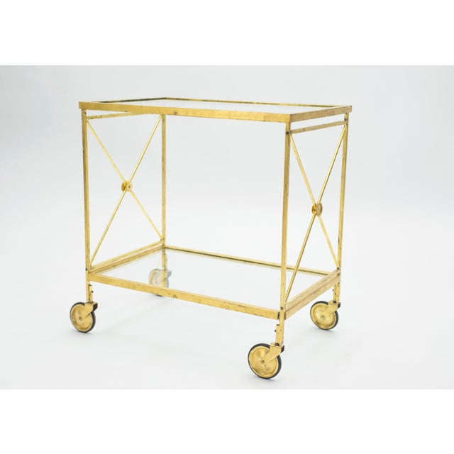 1960s French Neoclassical Maison Jansen Gilded Iron Bar Cart 1960s For Sale - Image 5 of 12