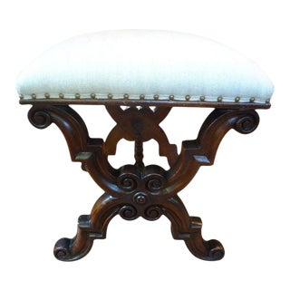 1920's Antique Spanish Walnut Bench or Ottoman For Sale