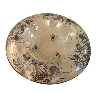 Sterling Silver Overlay Crystal Bowl