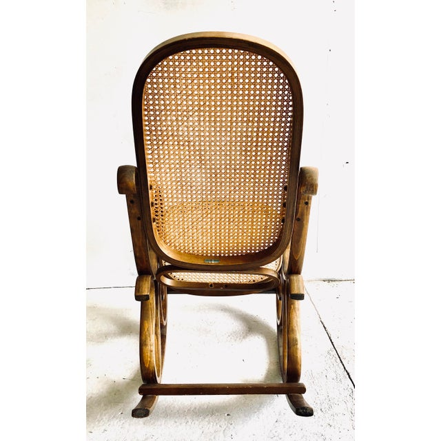 1970s Bentwood and Caned Rocking Chair Thonet Style For Sale - Image 5 of 8