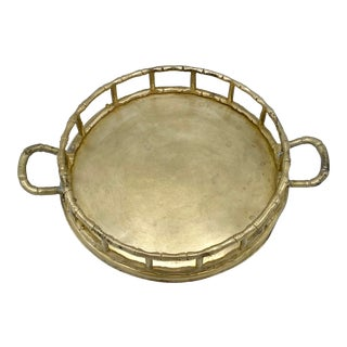 """Mid-Century 6"""" Roy D Brass Bamboo Tray For Sale"""