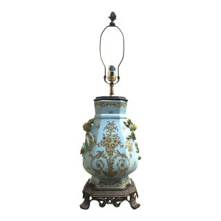 Chinoiserie Robin's Egg Blue Porcelain Table Lamp For Sale