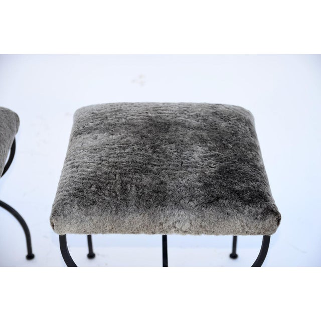 Black Pair of 'Strapontin' Wrought Iron and Fur Stools For Sale - Image 8 of 9