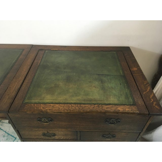 19th-C. English Oak Map Chest Desk - Image 6 of 9