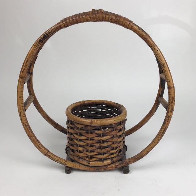 Tan 1970s Boho Chic Rattan Hanging Circle Planter For Sale - Image 8 of 8