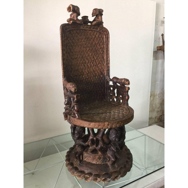 Large Carved Wood African Throne Chair For Sale - Image 10 of 10 - Superb Large Carved Wood African Throne Chair DECASO