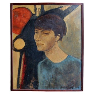 Signed 1964 Portrait Painting For Sale