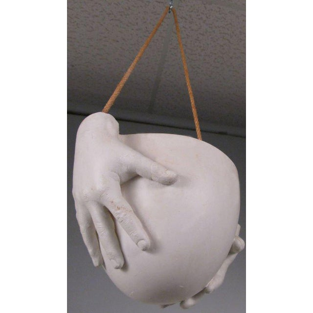 This is a rare 'Hands' hanging bowl by artist Richard Etts in plaster. Etts is known for his iconic sculpture and lighting...