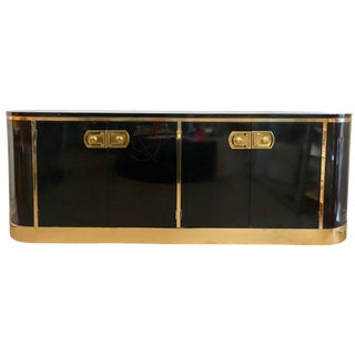 Rare Mastercraft Black and Brass Credenza For Sale