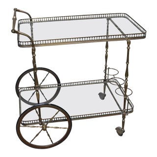 English Brass Cocktail Trolley For Sale