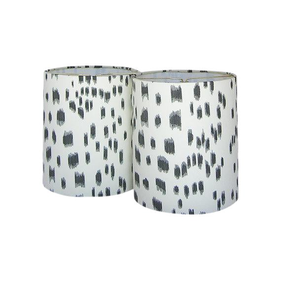 New, Made to Order, Drum Chandelier or Sconce Shades, Brunschwig & Fils Les Touches Black Animal Print Fabric, Set of Two For Sale