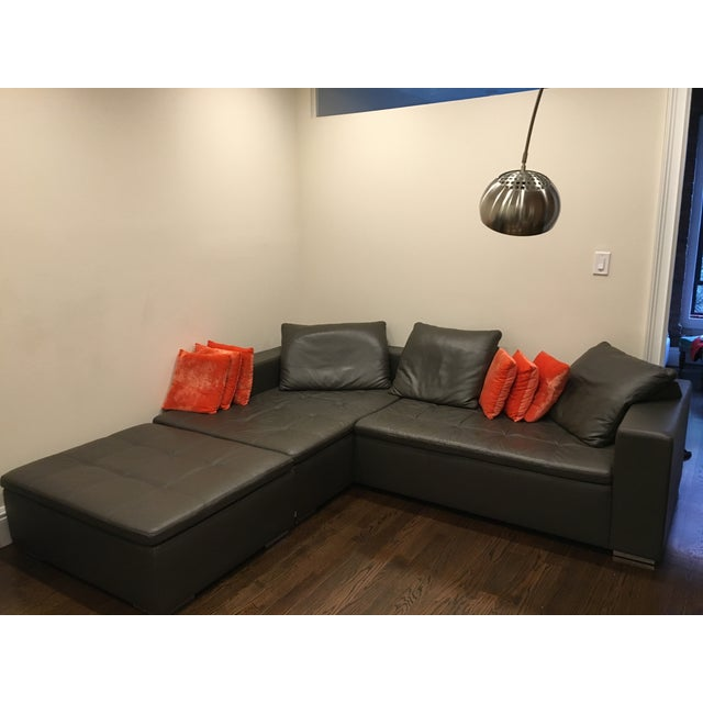 Leather Corner Sofa with Pillows - Image 4 of 7
