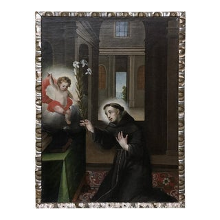 18th Century Framed Italian Oil Painting on Canvas of St. Anthony For Sale