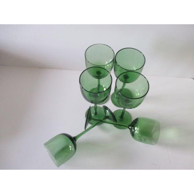 Hollywood Regency Set of Six (6) Vintage Emerald Green Wine Vases For Sale - Image 3 of 6