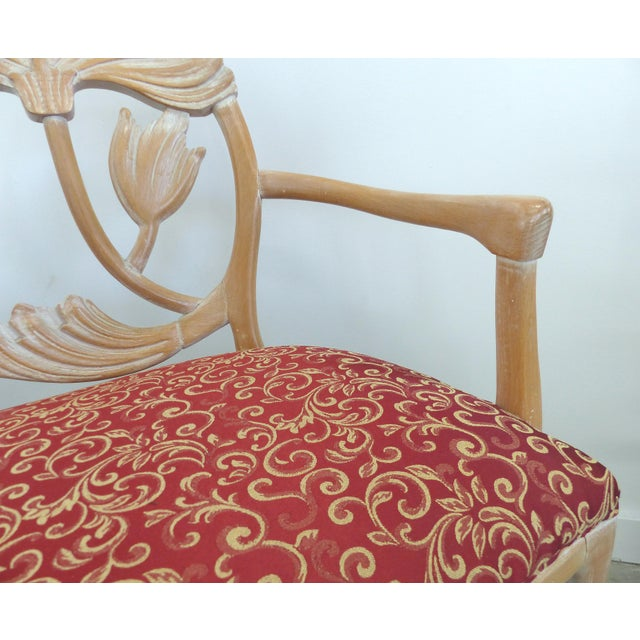 Wood LaVerne Style Carved Wood Settee For Sale - Image 7 of 12