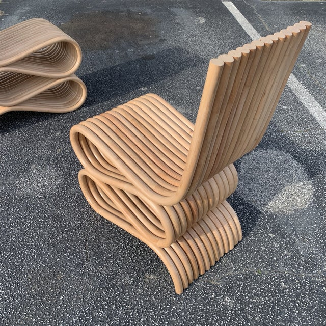 2010s Frank Gehry Style Rattan Chairs- A Pair For Sale - Image 5 of 11
