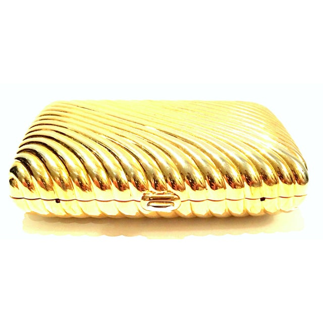 Modern 20th Century Judith Leiber Gold Ribbed Minaudière Box Clutch Evening Bag For Sale - Image 3 of 8