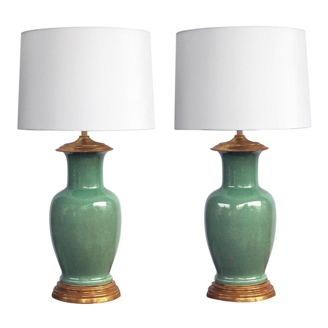 1960s Vintage Celadon Crackle-Glaze Lamps by Wildwood Lamp Co.-A Pair For Sale - Image 5 of 5