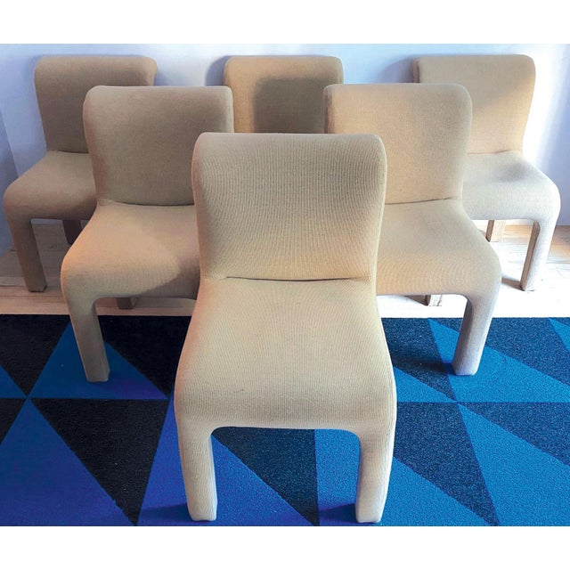Classic 1980's minimalist chic set of dining chairs. High quality camel colored wool knit upholstery. Really fabulous...